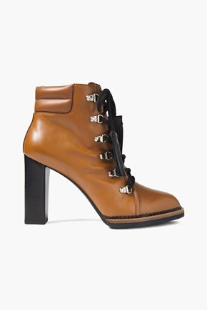 TOD'S Lace-up tasseled leather ankle boots