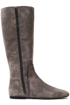TOD'S Leather-trimmed suede boots