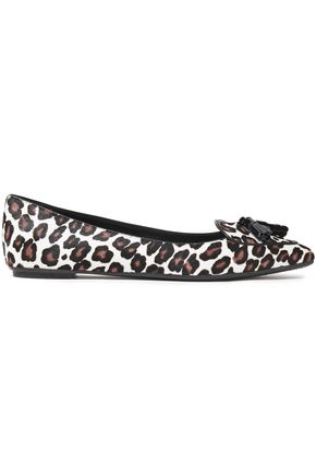 TOD'S Patent leather-trimmed leopard-print point-toe flats
