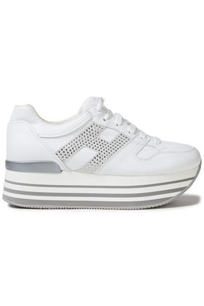 HOGAN Embellished leather platform sneakers