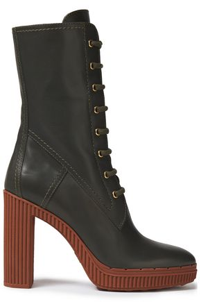 TOD'S Lace-up leather platform boots