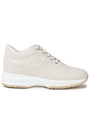 HOGAN Interactive perforated lizard-effect leather sneakers