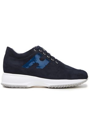 HOGAN Sequined suede sneakers