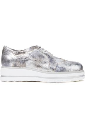 HOGAN Metallic leather platform brogues