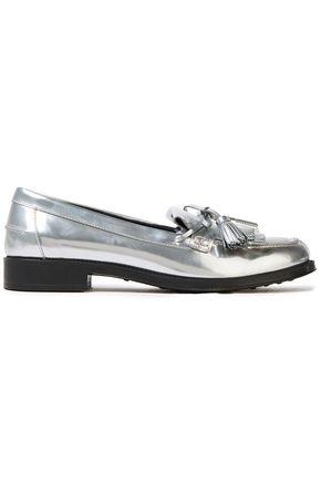 TOD'S Tasseled fringed metallic leather loafers