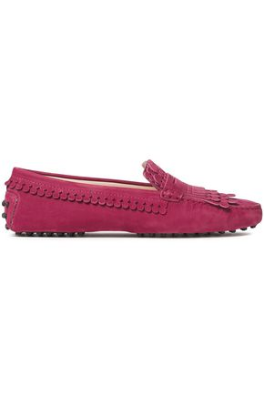 TOD'S Picot-trimmed fringed suede loafers