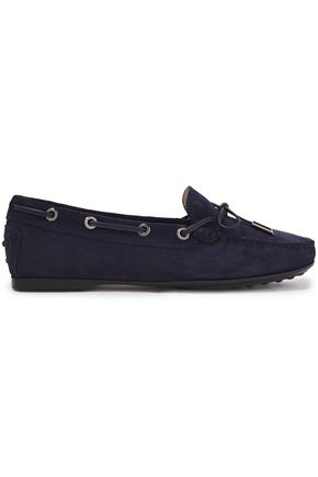 TOD'S Bow-detailed suede loafers