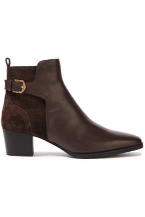 TOD'S Paneled suede and leather ankle boots