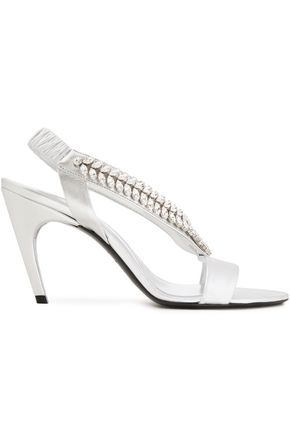 ROGER VIVIER Argento crystal-embellished metallic leather sandals