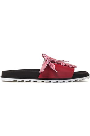 ROGER VIVIER Lace-up grosgrain-trimmed logo-embossed leather slides