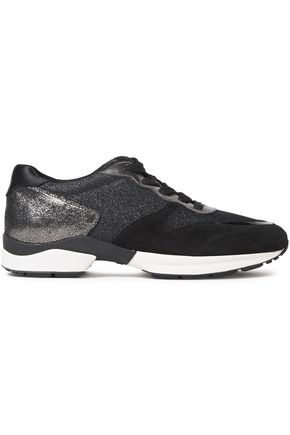 TOD'S Paneled metallic leather suede and mesh sneakers