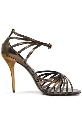 ROGER VIVIER Burnished two-tone leather sandals