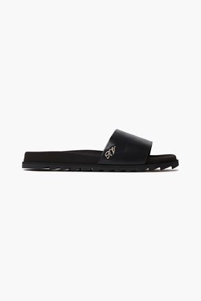 ROGER VIVIER Crystal-embellished leather slides