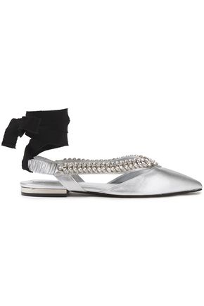 ROGER VIVIER Crystal-embellished metallic leather point-toe flats
