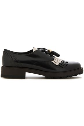 TOD'S Two-tone fringed leather brogues