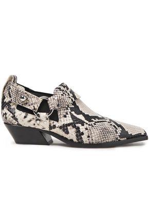 RAG & BONE Embellished snake-effect leather ankle boots