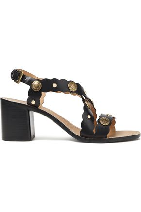 SANDRO Studded scalloped leather sandals
