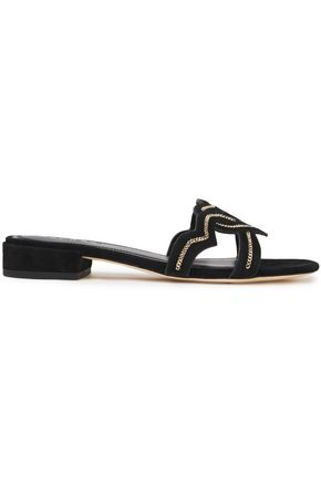 SANDRO Chain-trimmed suede slides