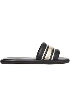 SANDRO Metallic-trimmed quilted leather slides