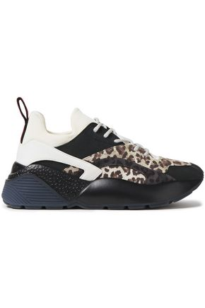 STELLA McCARTNEY Leopard-print neoprene and faux suede sneakers