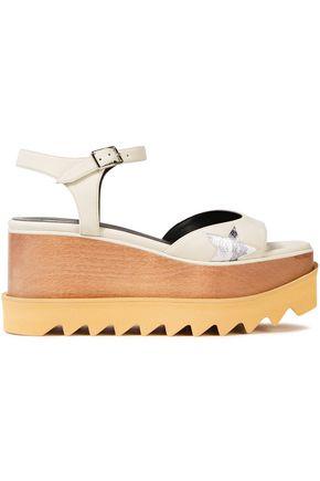 STELLA McCARTNEY Cutout metallic-trimmed faux leather platform sandals