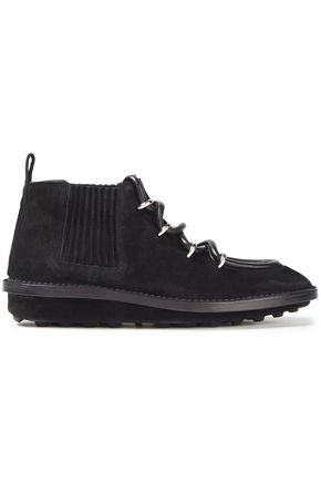 BALENCIAGA Lace-up suede ankle boots