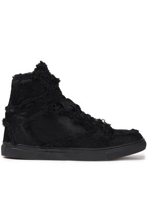 BALENCIAGA Shearling-trimmed calf hair sneakers