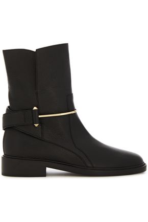BALENCIAGA Embellished pebbled-leather ankle boots