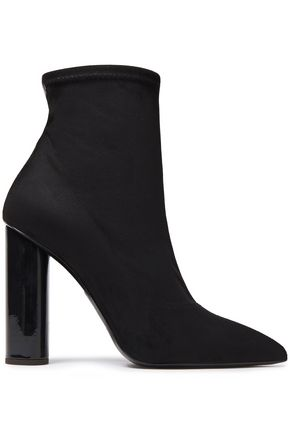 GIUSEPPE ZANOTTI Crudelia 110 patent leather-trimmed faux stretch-suede sock boots