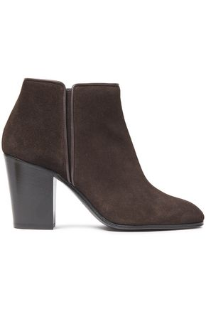 GIUSEPPE ZANOTTI Nicky 80 leather-trimmed suede ankle boots