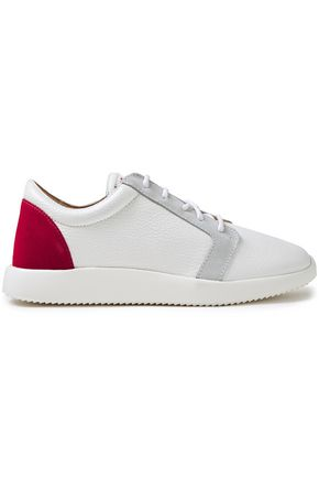 GIUSEPPE ZANOTTI Singleg suede-trimmed color-block textured-leather sneakers