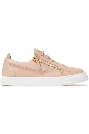 GIUSEPPE ZANOTTI London zip-detailed leather sneakers