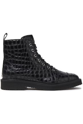 GIUSEPPE ZANOTTI Hilary croc-effect leather ankle boots