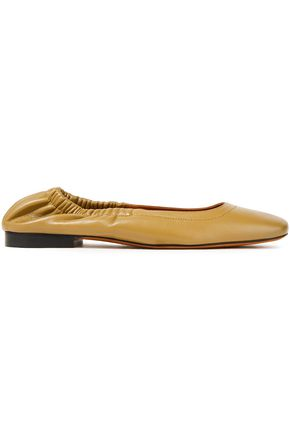 ATP ATELIER Neve gathered leather ballet flats