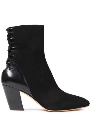 IRO Volira lace-up suede and cracked-leather ankle boots
