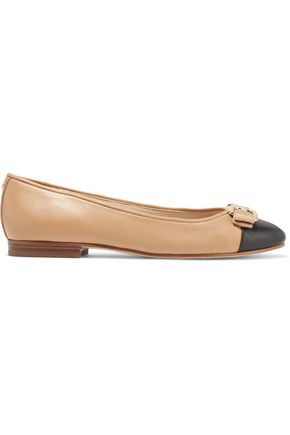 Ballet flats Two-tone Leather Embellished Grosgrain trim Round toe Slip on Leather sole Imported