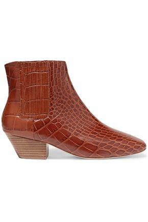 NANUSHKA حذاء بوت إلى الكاحل من الجلد النباتي بنمط التمساح