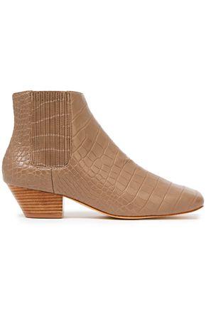 """NANUSHKA حذاء بوت إلى الكاحل """"سالسا"""" من الجلد النباتي بنمط التمساح"""