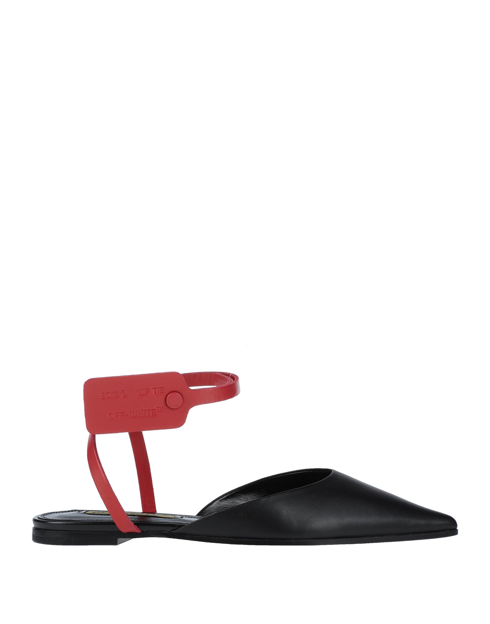 OFF-WHITE™ Ballet flats. polished leather, logo, two-tone, wrapping straps closure, narrow toeline, flat, leather lining, leather sole, small sized, contains non-textile parts of animal origin. Soft Leather