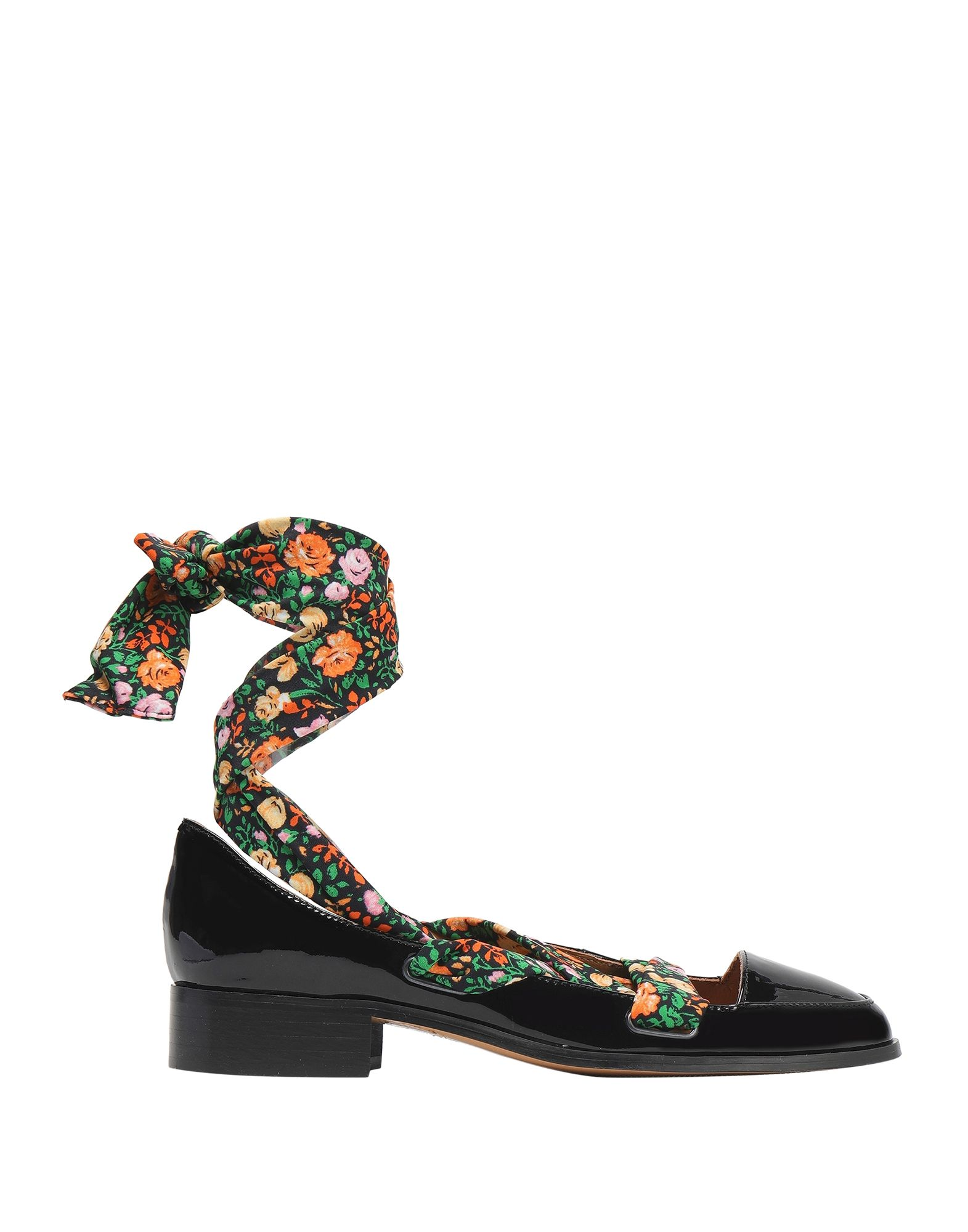 GANNI Loafers. no appliqués, solid color, laces, narrow toeline, square heel, leather lining, leather sole, small sized, contains non-textile parts of animal origin, varnished effect. Soft Leather, Textile fibers