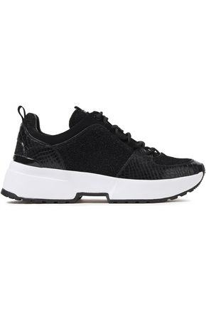 MICHAEL MICHAEL KORS Lizard-effect leather, suede and metallic knitted sneakers