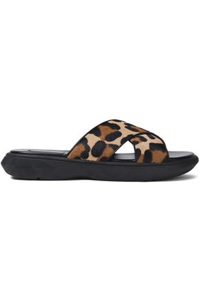 MICHAEL KORS COLLECTION Leopard-print calf hair slides