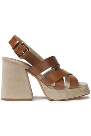 MICHAEL KORS COLLECTION Leather platform slingback sandals