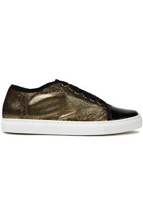 LANVIN Metallic cracked and patent-leather sneakers