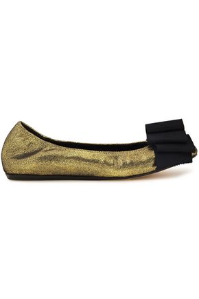 LANVIN Bow-embellished metallic cracked-leather ballet flats