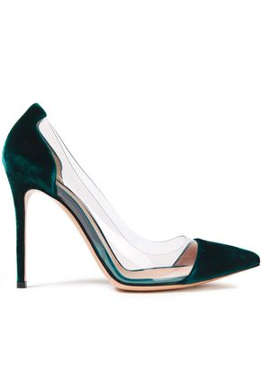GIANVITO ROSSI Plexi velvet and PVC pumps
