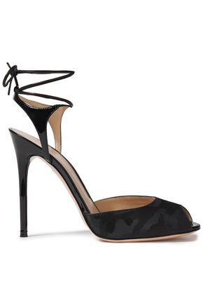 GIANVITO ROSSI Muse lace-up patent leather and jacquard sandals