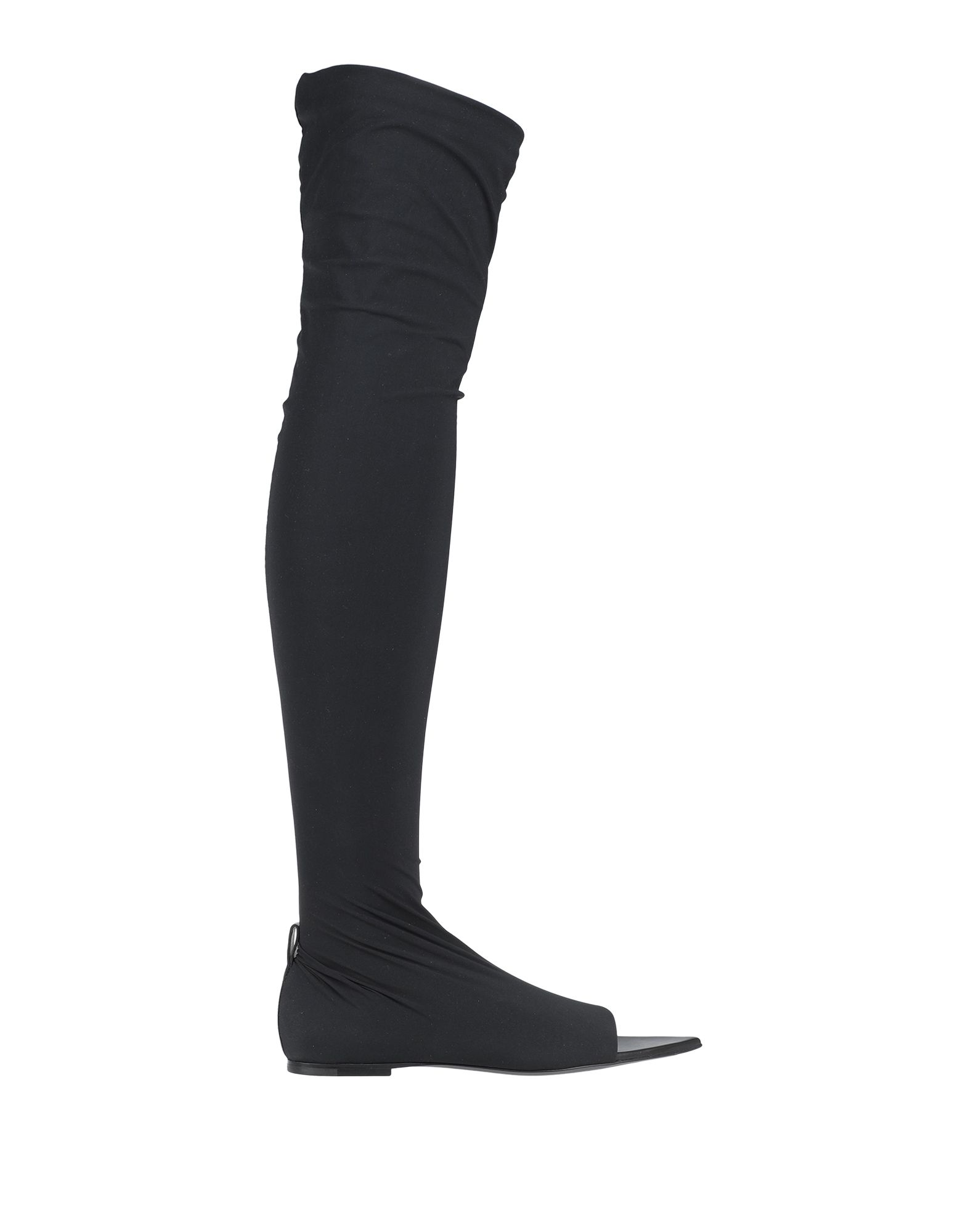 JIL SANDER Boots. synthetic jersey, no appliqués, solid color, narrow toeline, flat, leather lining, leather sole, contains non-textile parts of animal origin. Textile fibers