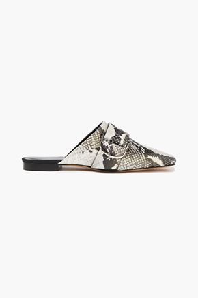 IRO Meta buckled snake-effect leather slippers
