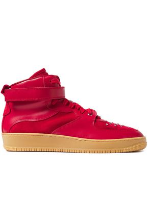 RED(V) Glam Slam leather and studded suede high-top sneakers